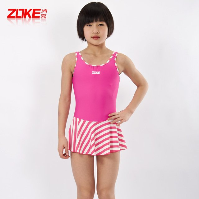 Professional zoke child swimwear female children one-piece dress hot spring swimsuit SF874