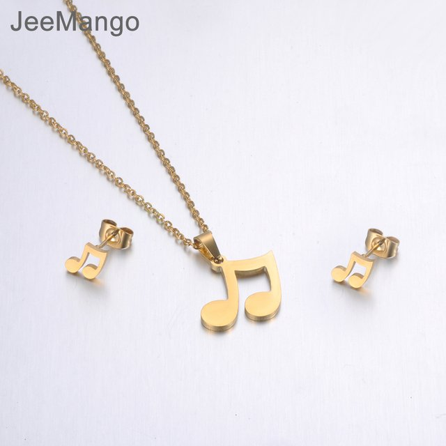 JeeMango Gold Color Stainless Steel Sets For Women Musical Notes Shape Necklace Earrings For Girls Lover's Engagement Jewelry