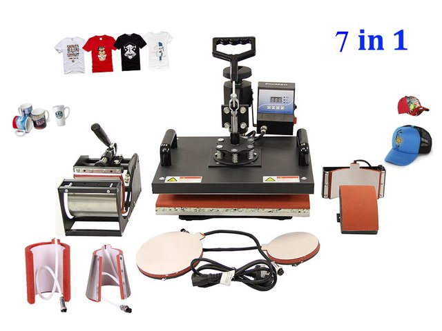 New 30*38CM 7 in 1 Combo Heat Press Machine Thermal Transfer Machine Sublimation Machine for Cap Mug Plates T-shirts Printing