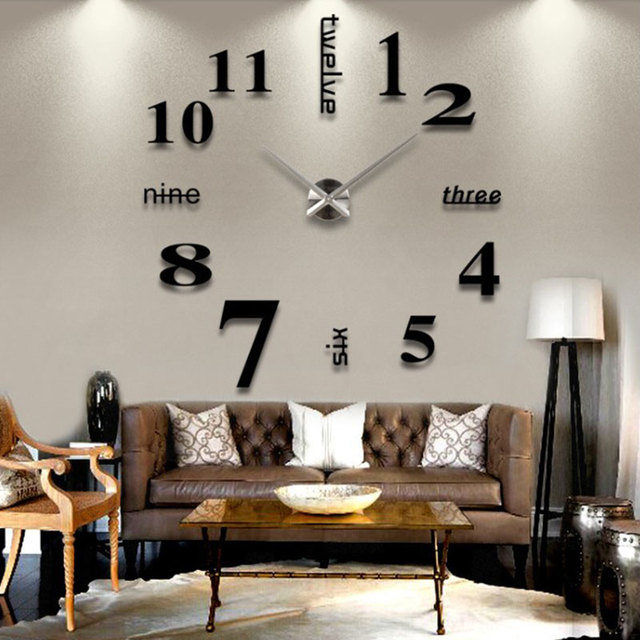3D DIY Luxury Wall Clock Home Decoration Mirror Living Room Large Art Design UK