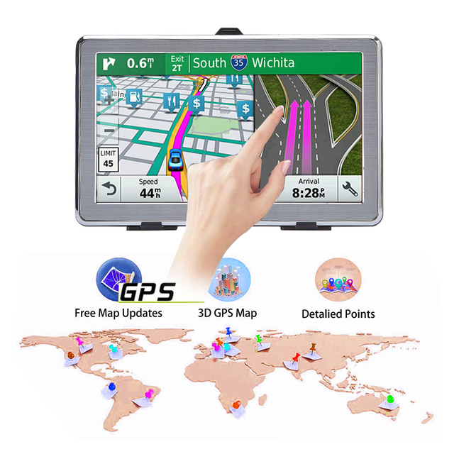 GPS navigator 7 inch LCD screen car navigation FM transmitter voice driving alarm path car GPS navigation accessories free lates