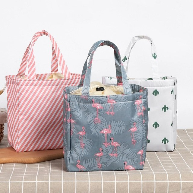 1Pcs Waterproof Convenient Leisure Bag Cute Flamingo Cuctas Tote Fresh Insulation Cold Bales Thermal Oxford Lunch Bag Women 2019