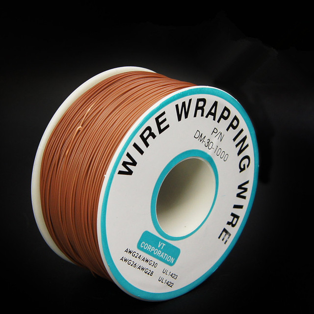 EziUsin Welding cable PCB Jumper Circuit Board 0.2mm Wire-Wrapping Electronic Wire 30AWG Cable 250m Brown 30AWG 0.5mm