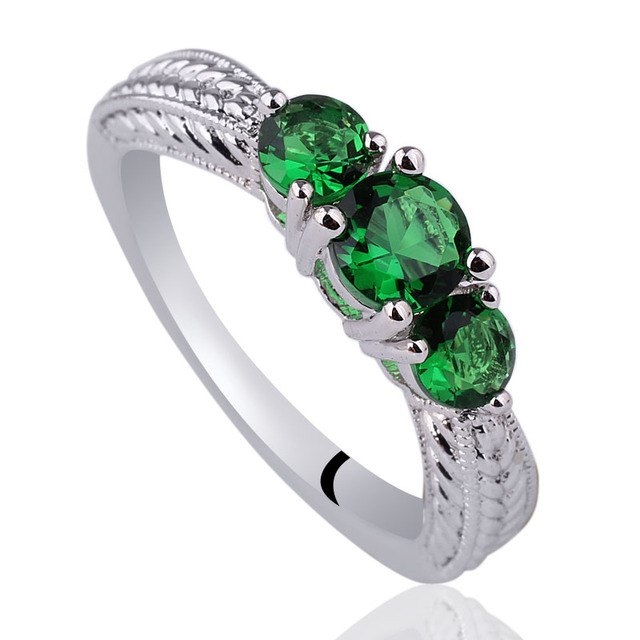 Women Real 925 Sterling Silver Promise Ring 3-Stone CZ Jewelry R158 Size 6 7 8 9