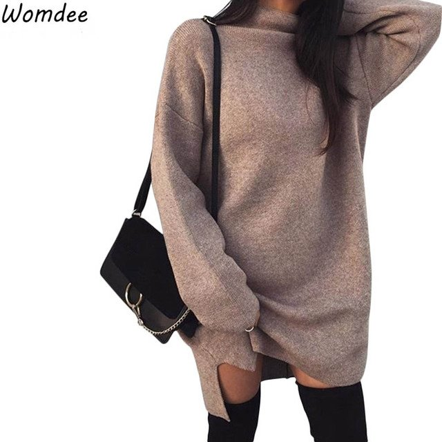 Knitted Dress Women Elegant Long Sleeve Stand Neck Winter Mini Party Dresses 2018 Autumn Jumper Casual Vintage Sweater Dresses