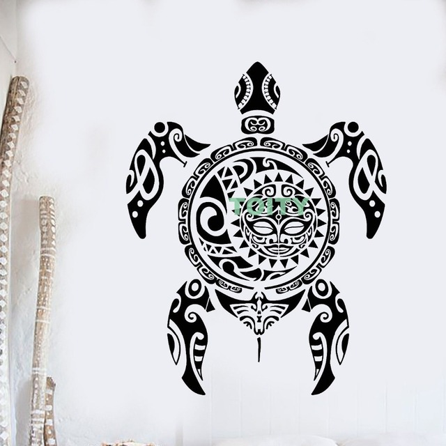 "Vinyl Wall Decal Sea Turtle Animal Ethnic Marine Style Ocean Sticker Home Interior Bedroom Decor Mural H73cm x W57cm/29"" x 22.5"""