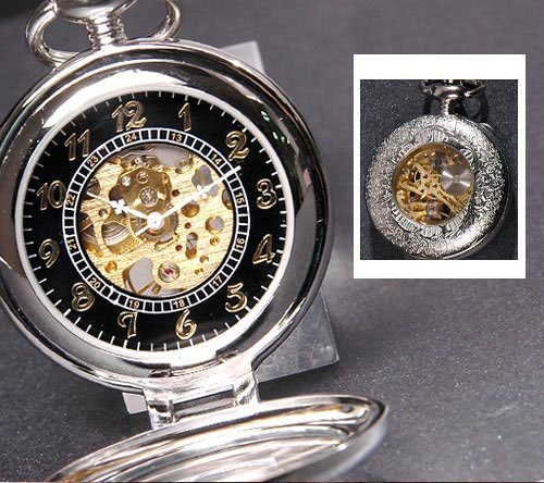 Double Cover See Through  Silver  Mechanical Pocket Watch