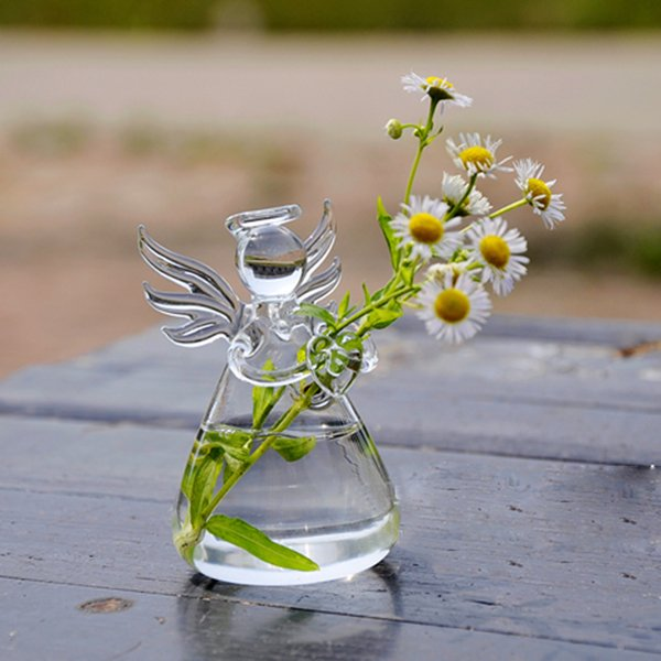 New Hot Cute Glass Vase Angel Shape Flower Plant Stand Hanging Vase Hydroponic Container Home Office Wedding Decor