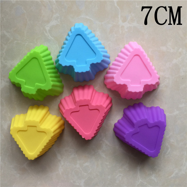 5pcs/lot Silicone 7CM Muffin Cup Multiple Colors Pointed Star Shape Silicone Cake Mold Pudding Cup Jelly Bakeware Soap Mold