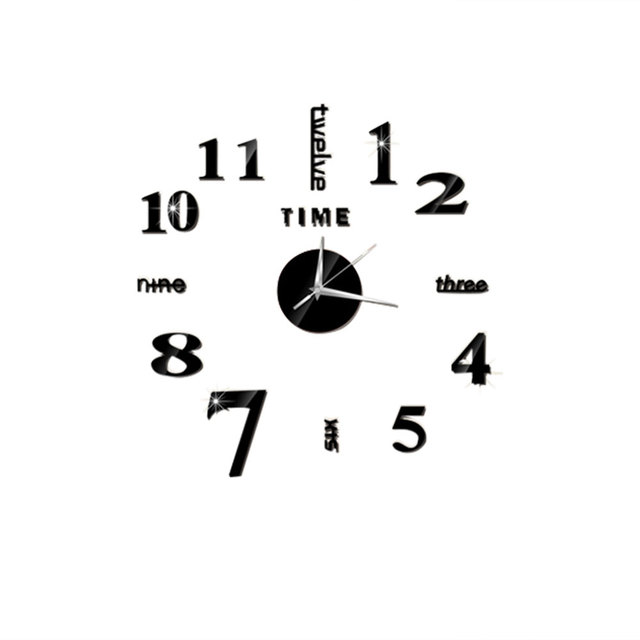 Acrylic 4 Color 3D Mirror Self-Adhesive Wall Clock Sticker Wall Stickers TV Background Mirror Wall Clock Cool Wall Art
