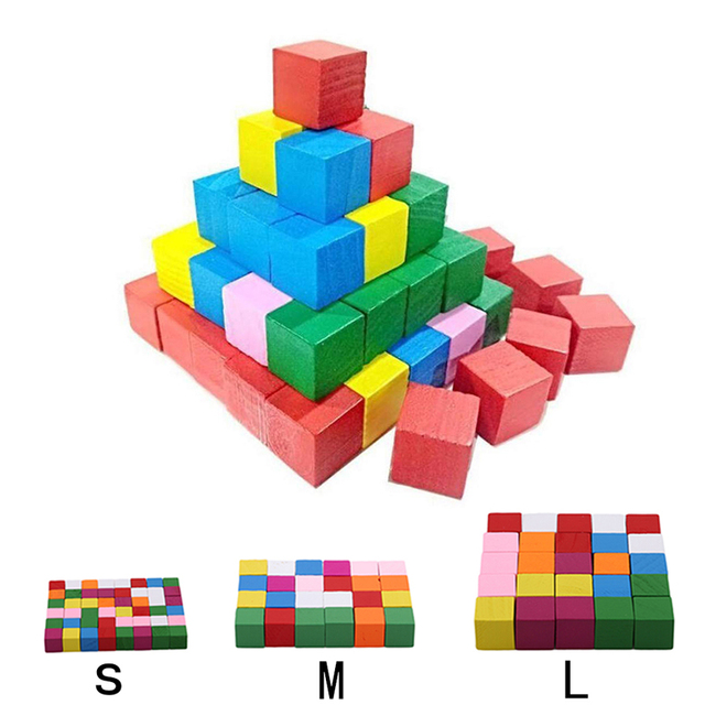 1Pcs New Square Cubes Baby Kids Stacking Stack Up Learning Education Toys Hot Colorful Wooden Stacking Up Building Blocks Gifts