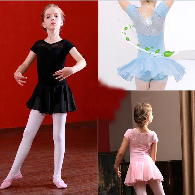 Ballet Leotard For Girls New Arrival Vintage Sweet Lace Ballet Dress Children High Quality Short Sleeve Ballet Dancing Skirt