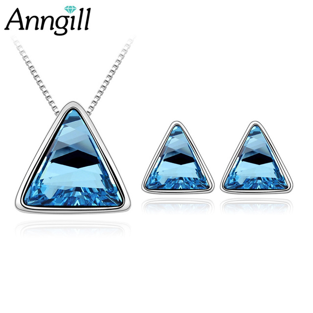 New Style Triangle Crystal From Swarovski Bridal Jewelry Sets Earrings Necklace Set Jewellery Sets For Women Party Wedding Gift
