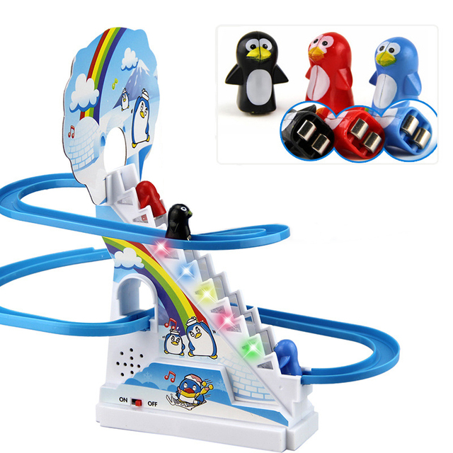 Electric Funny Penguin Climbing Stairs Musical Kids Toys Parent-Child Puzzle Penguin Slide Interactive Games Juguetes Xmas Gift