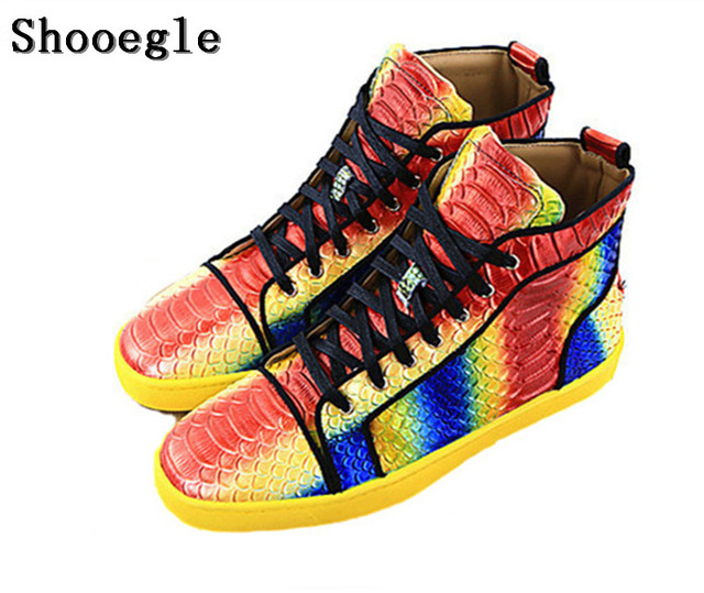 SHOOEGLE Snakeskin Men Shoes Casual Espadrilles Colorful Printing Sneakers Platform Mens Ankle Boots High Quality Shoes Man