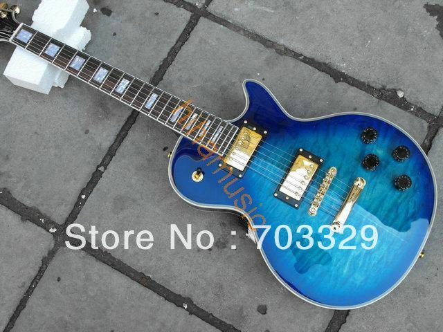 new blue quilted top guitar hot guitars free shipping high quality OEM custom grover tuner music mahogany body rosewod fretboard