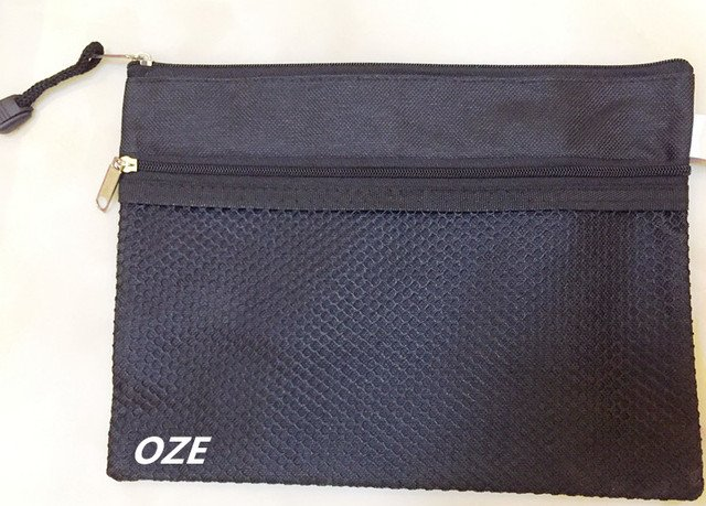1Pcs Black Nylon Zip Up Water Resistant 242mm x 178mm  Document File Pen Bag Folder