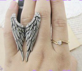 24pcs Free shipping Fashion Wing Ring,Crystal  Angel Finger Rings,Resizable Animal Jewelry