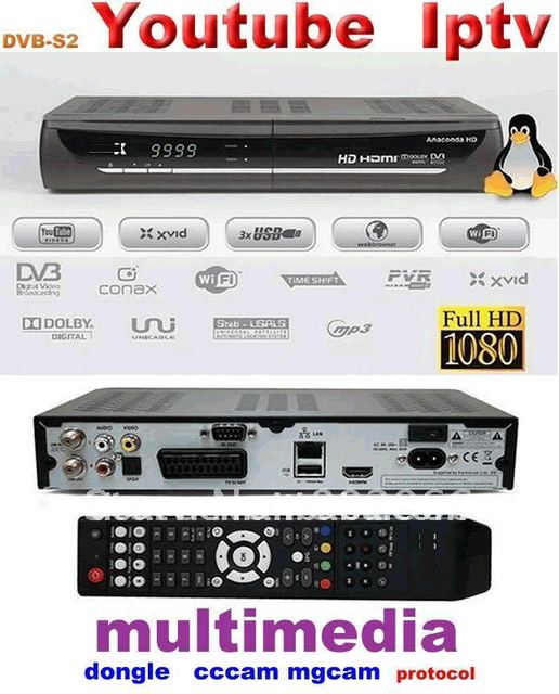 YouTube hd media play 1080P Iptv  set top tox dvb s2 mpeg4 hd receiver cccam rceeiver  dongle sharing hd satellite receiver