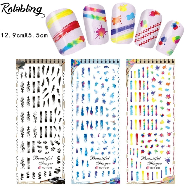 New Arrival Abstract Oil Painting Series Water Transfer Nail Art Sticker Colored Plastic Sheets Airbrush Stencils Nails