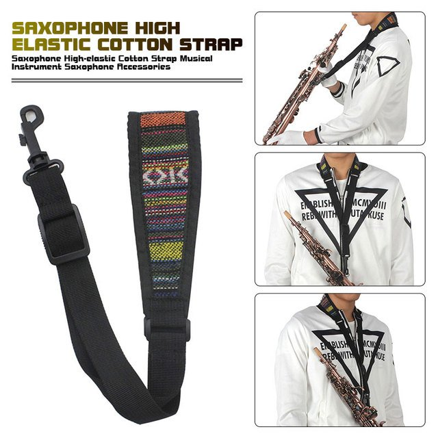 Saxophone Sachs Sax Strap Strap Elastic Cloth Black  Saxophone Strap Stylish Padded Shoulder Adjustable saxophone accessories