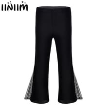 iEFiEL Adult Mens Retro 70s Disco Pants Mid Waist Bell Bottom Flared Side with Sequins Gymnastics Dance Long Trousers
