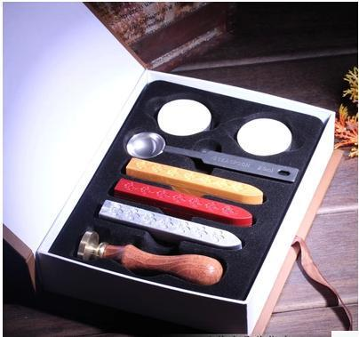 wax spoon candle Set wedding Vintage Chinese Retro candle sealing wax stamp custom logo Personalized stamp wood handle Box set