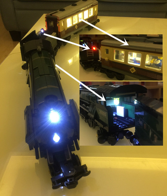 LED light up kit (only light included) for  10194  and  21005 Technic Series Emerald Night Train  ( blocks set not included)