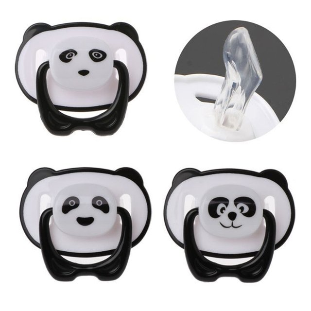 New Cute Panda Dummy Nipple Pacifier Baby Food Grade PP Silicone Nipples with Ring Teether Baby Pacifier