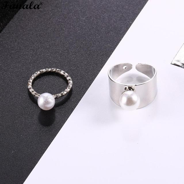 Women Casual Jewelry Wedding Pearl Ring Charm Fashion New Artificial