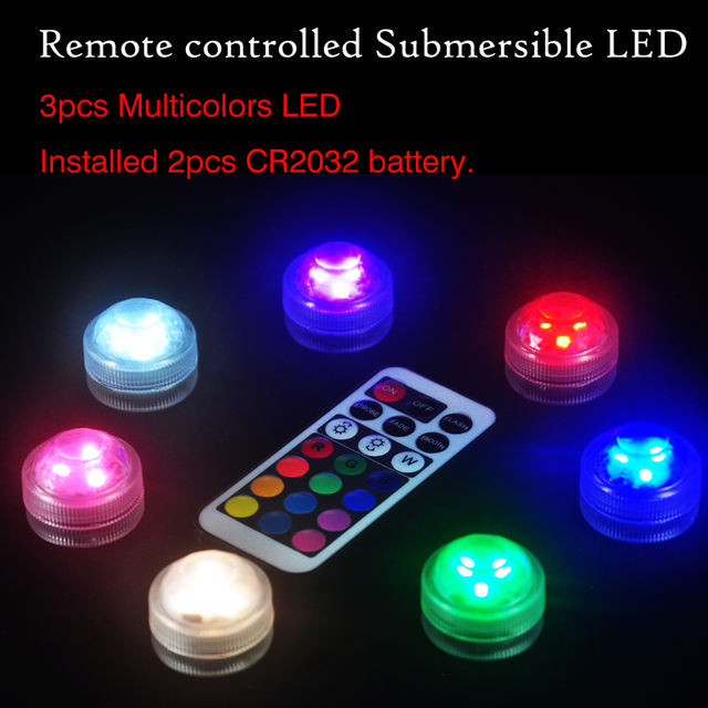 10pcs Kitosun Battery Operated Underwater Submersible LED Lights Remote Controlled Waterproof LED Lights for Wedding Xmas Party