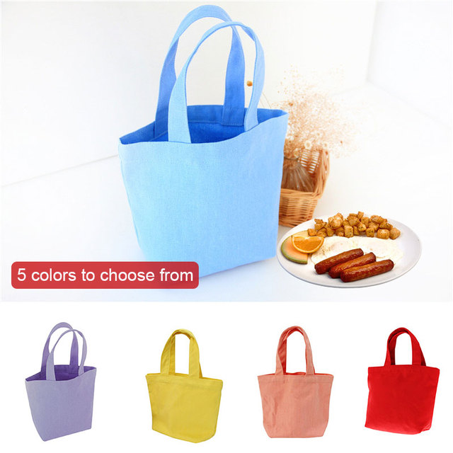 5 Colors Canvas Bag Bento Dinner Pail School Lightweight Office Food Container Outdoor Lunch Box Bag Portable Storage Canvas