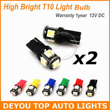 4pcs/lot 194 LED Light bulb for W5W 168 2825 T10 Wedge 5-smd 5050 Replacement Car Signal Trunk Interior Dashboard Parking Lights