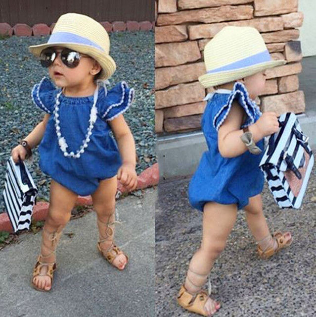 Hot Summer Stylish comfortable Toddler Kids Baby Girls Infant Clothes Denim Rompers Jumpsuit Outfits