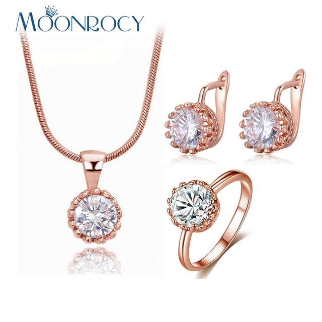 MOONROCY Free Shipping Fashion CZ Crystal Necklace Earrings and Ring Rose Gold Color Wedding Jewelry Set for Women Choker