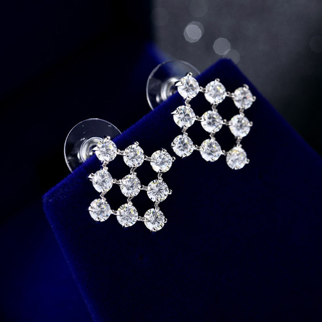 New Zircon Silver Color Rhombus Design Simple Stud Earrings Fashion Jewelry Earring Boucle d oreille For Wedding Party