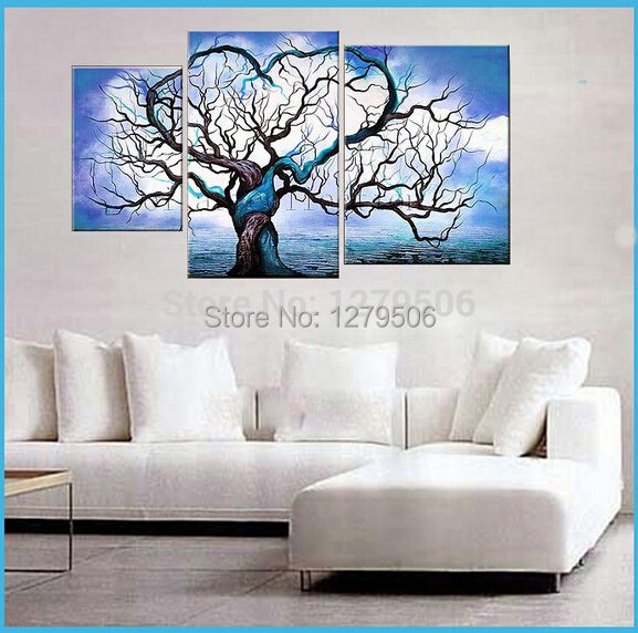 3 Pcs/set Hand-painted Tree Oil Painting Wall Art Decoration On Canvas Paintings As Living Room Unique Gift