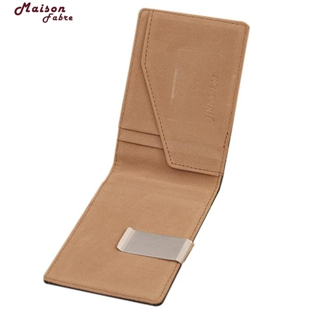 New Fashion Leather Purses Men Magic Thin Clutch Clip Wallet Double Silm Hasp Wallets Credit Card Holder Coin Purse Maison Fabre