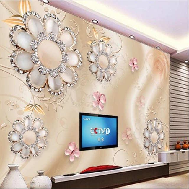 wellyu Custom large fresco gold gorgeous jewelry diamond diamonds 3d 3d TV background wall non-woven fabric wallpaper
