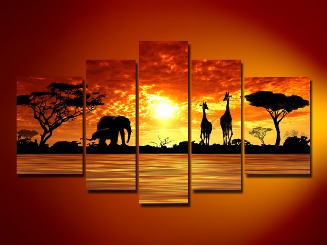 hand-painted  oil wall art African sun big grassland pictures decorated bedrooms  Landscape oil painting on canvas 5pcs/set
