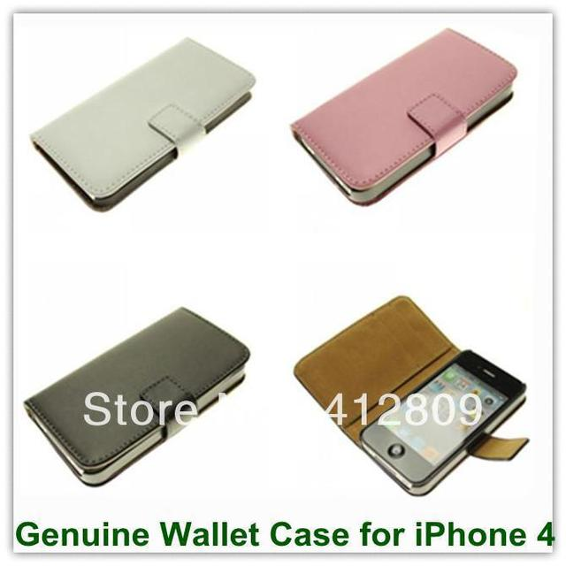 Wholesales 1PCS Genuine Leather Folio Wallet Cover Case for iPhone 4 4S With Mulit Slot Stand Free Shipping