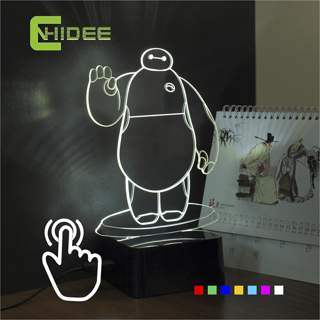 CNHIDEE USB Novelty for Creative Birthday Holiday Gifts baymax Light 3d Table Lamp Led Nightlights with Ajustable Seven Colors