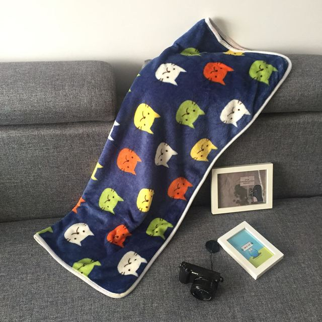 RUBIHOME 1 Piece Soft Flannel Throw Blue Cat Head Plush Air Conditioning Blankets Bedsheet Sofa Cover Summer Office Quilts