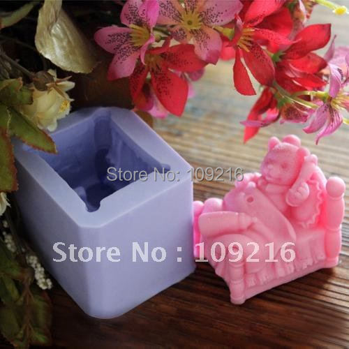 wholesale!!!New 3D Lying In Bed Bear(LZ0095)  Silicone Handmade Candle Mold Crafts DIY Mold