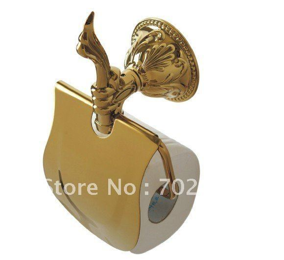 FREE SHIPPING new  design 24k GOLD roll holder with cover  toilet paper holder