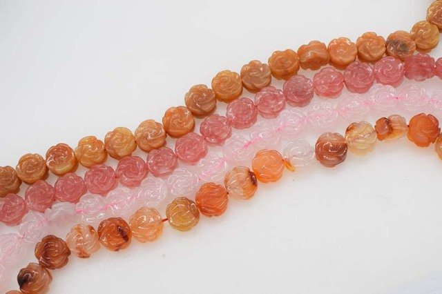 """loose beads 14mm carved flower red agate/jade/pinkquartz/ 14""""  for DIY jewelry making FPPJ wholesale beads nature gem stone"""