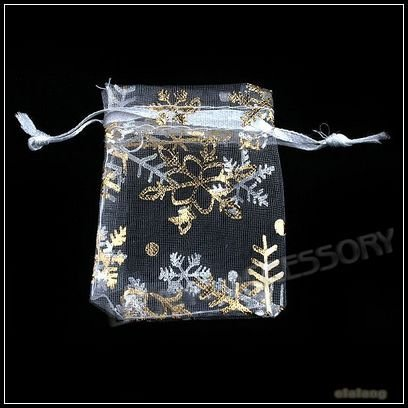 100pcs/lot Wholesale 5x7cm White Organza Pouches Gift Bags Gold Snowflake Patterns Fit Wedding and Festival Party 120403