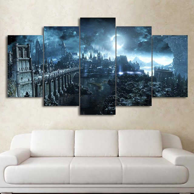 5 Panel Wall Art Poster Modular Canvas HD Prints Paintings Moon Night Castle Pictures Home Decor For Living Room Framework
