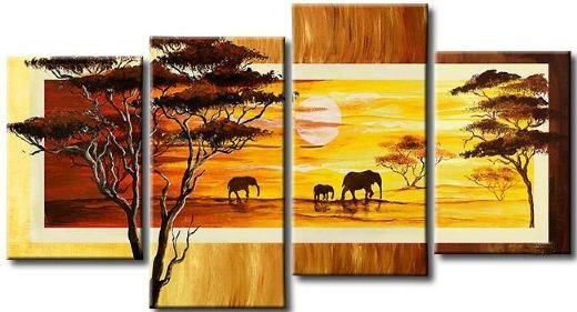 hand-painted  wall tree Grassland sunshine elephants home decoration abstract  Landscape oil painting on canvas 4pcs/set,mixorde