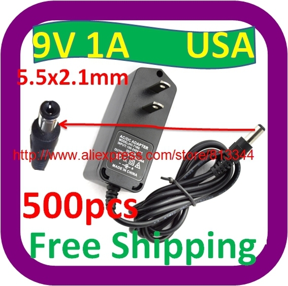 500 pcs Free Shipping Wholesale Cheap 9v 1a 1000ma USA plug AC Power adapter adaptor for Tablet PC CCTV Camera